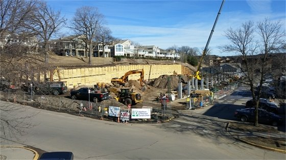 Installation of the wood lagging and tiebacks along the north side of the site (2-15-17).