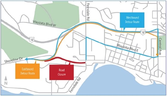 Proposed Shoreline Drive detour route during MCES sewer project.