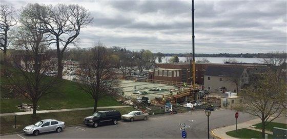 Mill Street Parking Structure progress, view from Wayzata library (4-19-17)