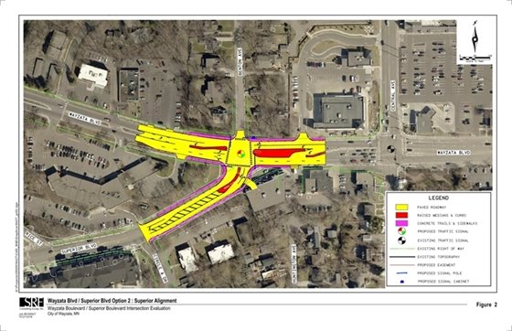 Proposed realignment of Wayzata Blvd/Superior Blvd intersection