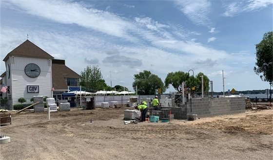 Construction of the restroom building at the new Lake Street Plaza Park
