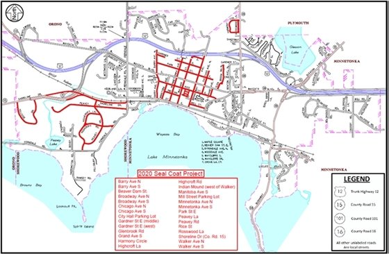 2020 Sealcoat Project Map
