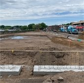 Looking west, at the new Plaza Park taking shape