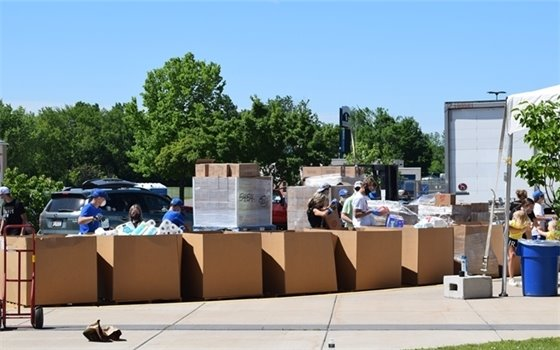Boxes of food for stack the semi food drive