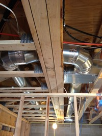 An HVAC system exposed during a construction project