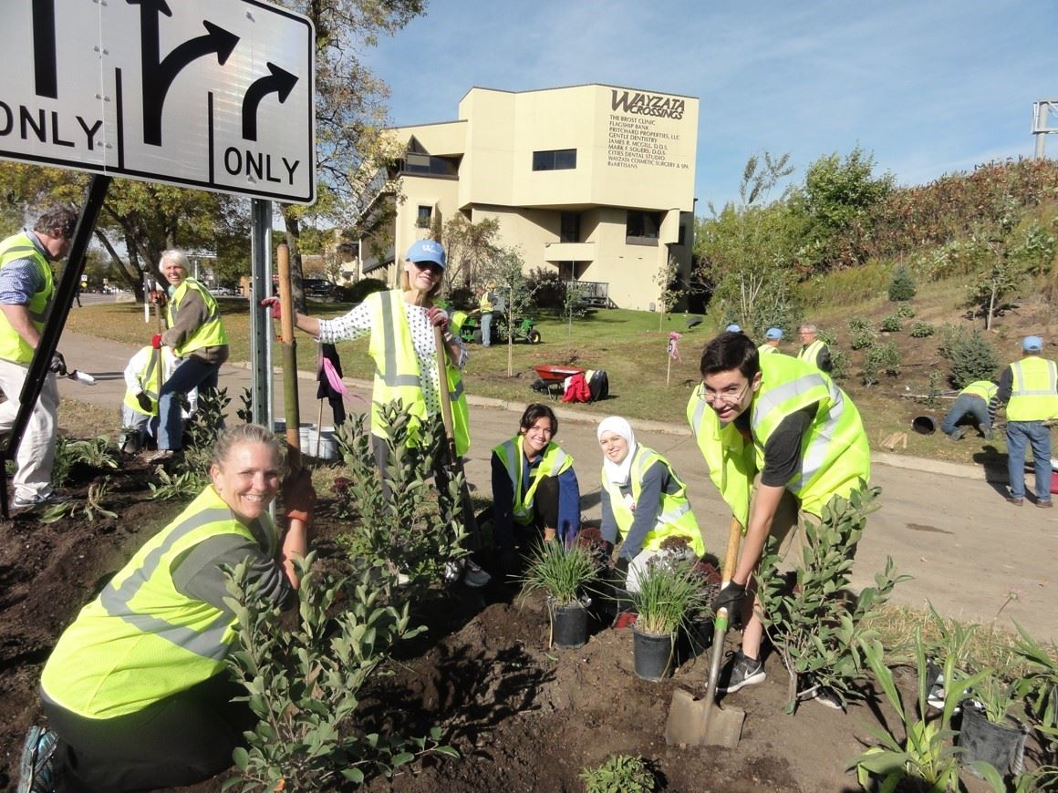Volunteers work on Landscaping Project