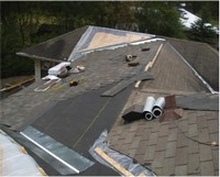 An arial view of a roofing project